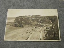 1930s Cornwall postcard - Tolcarne Beach scene - Newquay