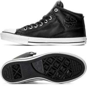 Converse CT High Street Leather Men's Shoes mid Sneaker Boots Black/White 44