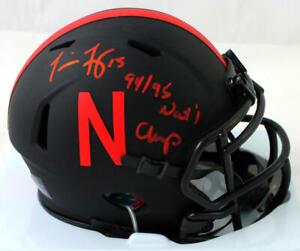 Tommie Frazier Signed Nebraska Eclipse Mini Helmet w/ Insc - Beckett W Auth *Red
