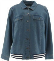 Denim & Co. Comfy Knit Jean Jacket w/ Rib Trim, Antique Wash, L NEW A309432
