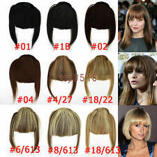 Fashion Clip on Front Inclined Bangs Fringe Human Hair Extensions 16colors