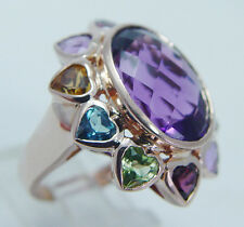Estate Jewelry Cocktail 14K Rose Gold Huge Amethyst Multistone Hearts Ring Large