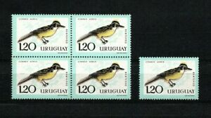 Uruguay Bird air mail c250 variety color displacement block and single