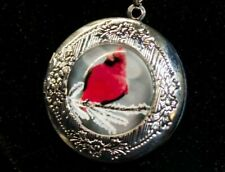 Red Cardinal Cabochon Glass 925 Sterling Silver Chain Locket Pendant Necklace