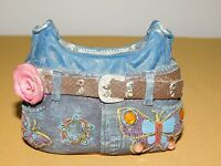 """VINTAGE 3"""" HIGH HIPPIE FLOWER BUTTERFLY BLUE JEANS PANTS COIN BANK"""
