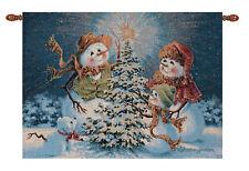 Snow Family ~ Snowmen Christmas Fiber Optic Tapestry Wall Hanging