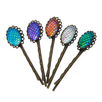 10Pcs Multi-Colors Mermaid Scale Hair Pin Hair Clips Jewelry Gift for Girl Women