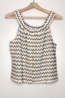 Texture & Thread Madewell Taffy Button Down Knit Top Tank Black & White Medium