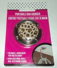 Portable Bag Hanger ANIMAL PRINT With Silver Trim NIP Hang Bag From Table ETC