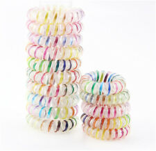 6 Fashion Spiral Shape Colorful Telephone Wire Cord Hair Accessories Bands USA