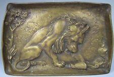 Antique Bronze Lion Decorative Art Tray Ornate High Relief Design Tree Landscape