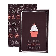 KitchenCraft Chalkboard Patterned Cotton Tea Towels 47 x 70 cm
