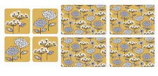 Cooksmart Retro Meadow Placemats and Coasters Set of 4 Mustard Yellow Floral