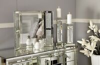 Sparkly Crushed Crystal Diamond Glitz Tri-fold Vanity Dressing Table Mirror