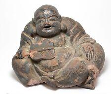 ANTIQUE TERRACOTTA SITTING HOTEI BUDDHA  FIGURINE ~ 7 '' Tall ~