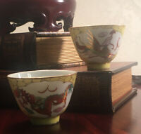 Antique Set Of 2 Chinese/Oriental China Five Toe Dragon And Rooster Teacups