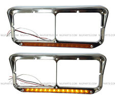 Kenworth Peterbilt Western Star Headlight Bezel  Amber/Amber LED Chrome Pair