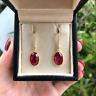 4Ct Oval Cut Red Ruby & Diamond Women Drop & Dangle Earrings 14K Yellow Gold Gp