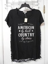 "NWT MAURICES BLACK Graphic ""American Country"" Shirt Size Small - MSRP $26"
