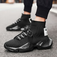Men's White High-top Sneakers Outdoor Walking Sports Running Shoes Walking Gym