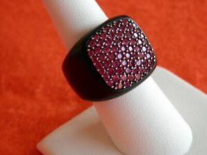 David Yurman Mens Black Titanium Pink Sapphire Signet Ring Size 8 $1,950+