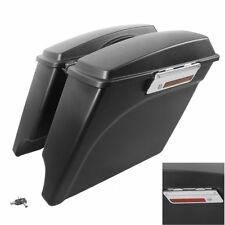 """Matte Black 5"""" Stretched Extended Saddlebags Fit For Harley Touring 1993-2013 US"""