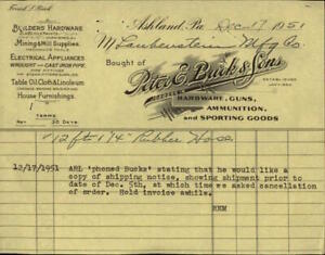 1951 Ashland Pennsylvania (PA) Letter Peter E. Buck & Sons