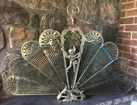 Vintage Brass Folding Peacock Fan Fireplace Screen Cherub