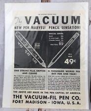 Vtg Paper Print Ad Advertisement The Vacuum-fil Pen Pencil Iowa USA Shaeffer (?)