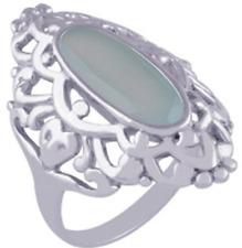 925 Sterling Silver 5.7 grams w/ Chalcedony Aqua Oval Cut Statement Ring Sz 8