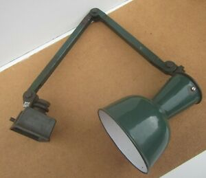 Vintage SIMPLEX Green Anglepoise Desk Workshop Lamp with Enamel Shade