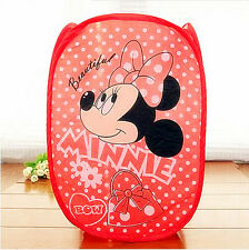 Cute Minnie Mouse Foldable Laundry Toys Basket Tidy Clothes Socks Storage