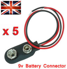 PP3 9V Battery x5 Connectors Snap On DC Power Plug Tinned Wires DIY Project UK