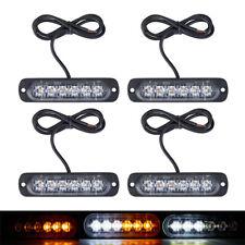 4Pcs 6-LED Strobe Lights Emergency Flashing Warning Beacon Amber/White 12V 24V