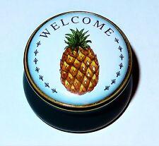 "Staffordshire English Enamel Box - Hawaiian Pineapple - Fruits - ""Welcome"" - Mib"