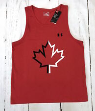 New Under Armour UA Team Canada Tank Shirt Heat Gear Hockey Red Sz L