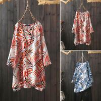 ZANZEA Women Long Sleeve Cotton Shirt Tops Asymmetrical Split Hem Blouse Tops