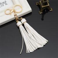 Faux Leather Long Tassels Keychain Women Key Rings For Handbag Wallet Accessory