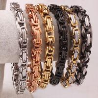 "5/6/8mm Men Womens Stainless Steel Handmade Byzantine Chain Bracelet 8.66"""
