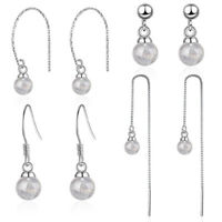 Women Fashion 925 Sterling Silver Moonstone Beads Tassel Stud Drop Hook Earrings