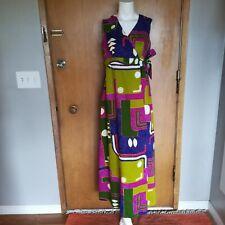 New listing Vintage Hawaiian Casual Ceire Maxi Sleeveless Faux Wrap Dress Bark Cloth Medium