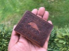 ANTIQUE ANGLO INDIAN MOGUL CARVED SANDALWOOD CARD CASE. 1840.