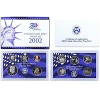 2002 S Proof Set Original Box & COA 10 Coins CN-Clad US Mint