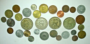 FOREIGN COIN LOT WITH 4 LARGE SILVER MEXICO UN PESO! (L8)
