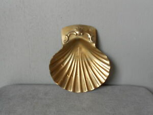 French VINTAGE gilded metal  SOAP DISH : Sea Shell