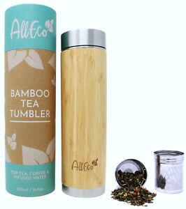 AllEco® Bambus Teebereiter Teekanne To-Go Thermosflasche doppelwandig 500ml