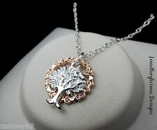 Beautiful Two Tone Circle Of Love Word Tree Of Life Pendant Necklace 56cm