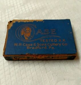 """ANTIQUE CASE & SONS TESTED XX """"EMPTY BLUE BOX ONLY"""" #6344 FOR POCKET KNIVES"""