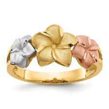 Genuine 14k Two Tone Gold Tri-color Plumeria Ring  3.19 gr