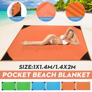 zhuygba 78.7x82.7 Beach Picnic Blanket,Waterproof /& Sand Free Quick Drying Nylon Outdoor Beach Picnic Mat with with Compact Storage Bag